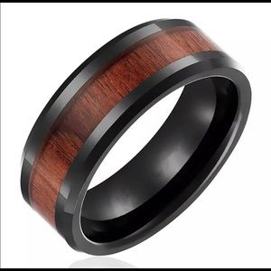 4/$10 Stainless Steel Wooden Ring Size 12